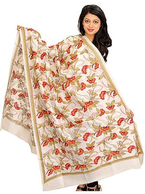 Ivory Dupatta from Kolkata with Kantha Hand-Embroidered Foliage