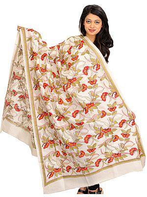 Ivory Dupatta from Kolkata with Kantha Hand-Embroidered Foliage
