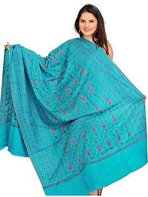 Algiers-Blue Tusha Shawl from Kashmir with Sozni Hand-Embroidered Paisleys