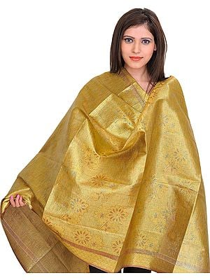Golden Brocaded Shimmer Shawl from Tamil Nadu with Woven Flowers