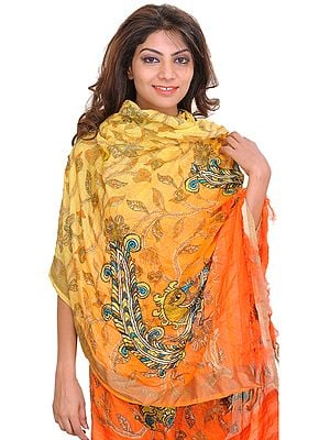 Yellow and Orange Digital-Printed Dupatta from Banaras with Peacocks