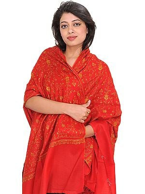 Tomato-Red Sozni Hand-Embroidered Tusha Shawl from Kashmir