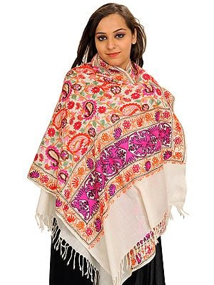 Off-White Stole from Amritsar with Ari-Embroidered Paisleys in Multicolor Thread