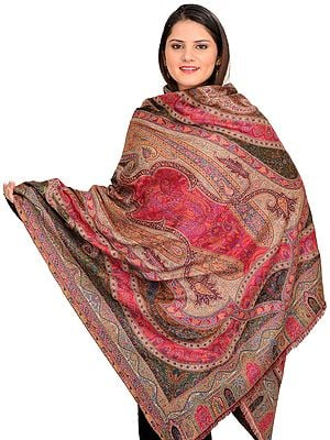 Multicolor Kani Jamawar Shawl with Woven Paisleys