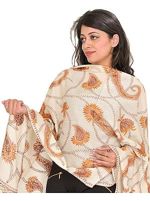 Tusha Stole from Kashmir with Sozni Hand-Embroidered Paisleys