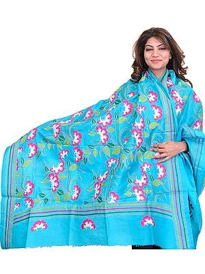 Blue-Atoll Dupatta from Kolkata with Kantha Hand-Embroidered Flowers