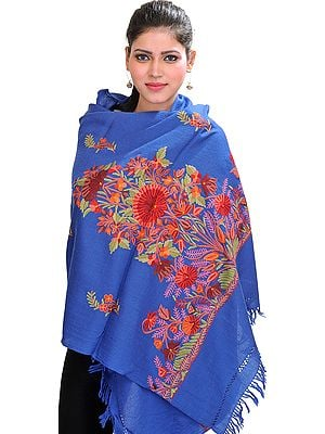 Stole from Kashmir with Floral Ari-Embroidery by Hand