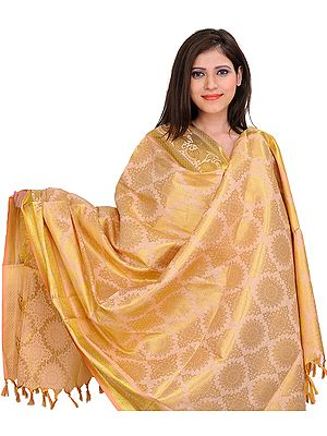 Peach-Puree Brocaded Shawl from Tamil Nadu with Zari Woven Motifs