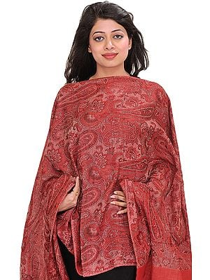 Mineral-Red Kani Reversible Stole with Woven Paisleys and Solid Border