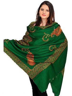 Foliage-Green Sozni Hand-Embroidered Tusha Shawl from Kashmir