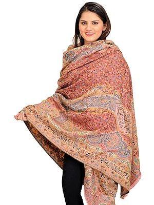 Rapture-Rose Jamawar Shawl from Amritsar with Kani Weave and Paisleys