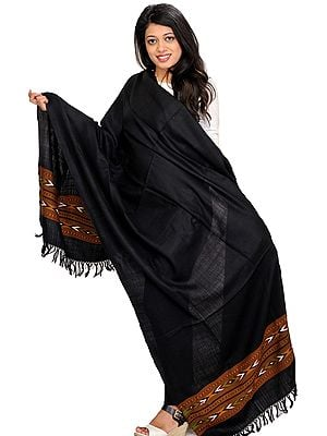 Caviar-Black Plain Shawl from Kullu with Kinnauri Woven Border