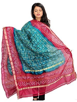 Green and Red Bandhani Tie-Dye Gharchola Dupatta from Gujarat with Zari Weave
