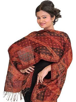 Maroon and Black Reversible Jamawar Scarf with Woven Bootis