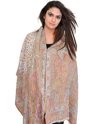Multicolor Kani Jamawar Stole with Woven Paisleys