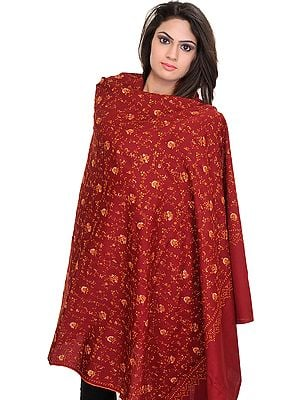 Cordovan-Red Tusha Shawl from Kashmir with Sozni Hand-Embroidery All-Over
