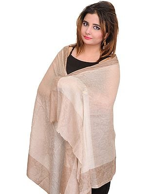 Crystal-Gray Semi-Cashmere Stole from Amritsar