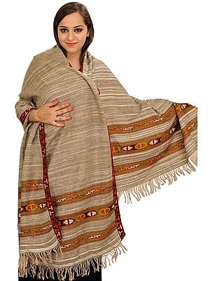 Oxford-Tan Shawl from Kullu with Kinnauri Woven Border and Thread Weave