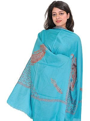 Tusha Stole from Kashmir with Sozni-Embroidery by Hand