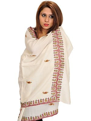 Ivory Tusha Stole from Kashmir with Sozni Hand-Embroidery on Border and Paisleys Bootis