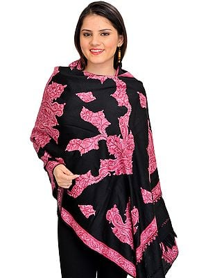 Black and Pink Stole from Kashmir with Ari Hand-Embroidered Paisleys