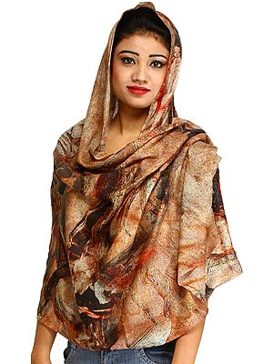 Brown Digital Printed Impressionist Stole