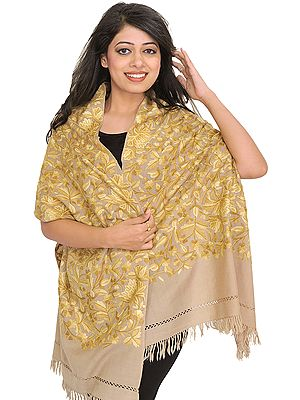 Feather-Gray Stole from Kashmir with Ari Hand-Embroidery All-Over