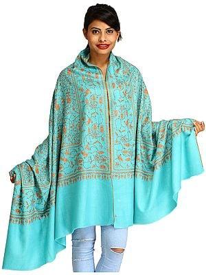 Aqua-Sky Pure Pashmina Shawl from Kashmir with Sozni Hand-Embroidered Paisleys