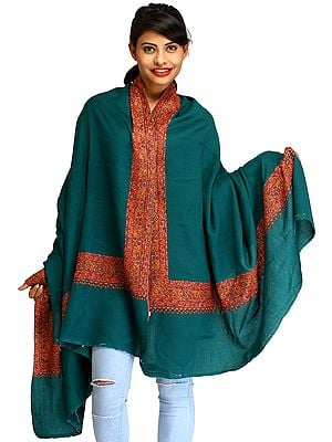 Teal-Green Plain Tusha Shawl from Kashmir with Sozni Hand-Embroidery on Border