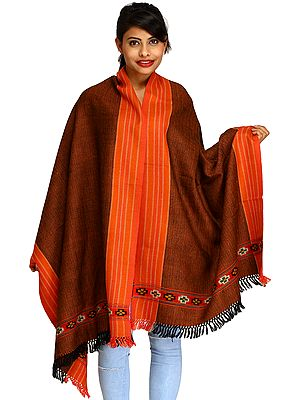 Brown and Paprika Stole from Kullu with Thread Weave and Striped Border