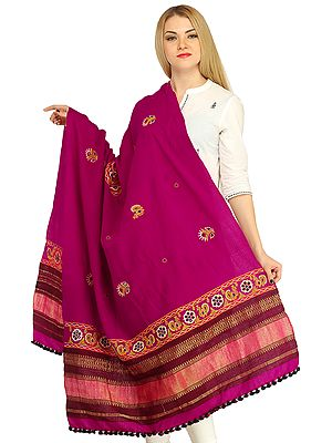 Shawl from Kutch with Embroidery and Mirrors