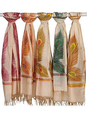 Lot of Five Dupattas from Banaras with Printed Peacock Feathers