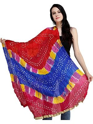 Multicolored Bandhani Tie-Dye Crinkled Dupatta with Gota Border
