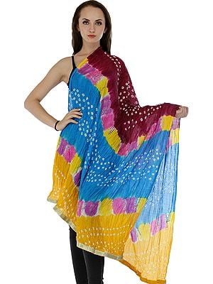 8327216f8 ... Jaipur with Large Sequins (Skirts | Textiles). Multicolored Bandhani Tie -Dye Crinkled Dupatta with Gota Border ...