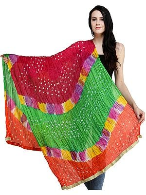 b9a8bcbe9 ... Multicolored Bandhani Tie-Dye Crinkled Dupatta with Gota Border ...