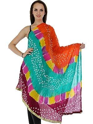 Multicolored Bandhani Tie-Dye Crinkled Dupatta with Gota Border