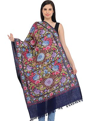 Patriot-Blue Kashmiri Stole with Ari-Embroidered Flowers