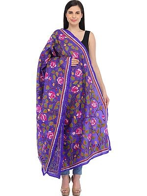 Spectrum-Blue Kantha Dupatta from Kolkata with Hand-Embroidered Roses