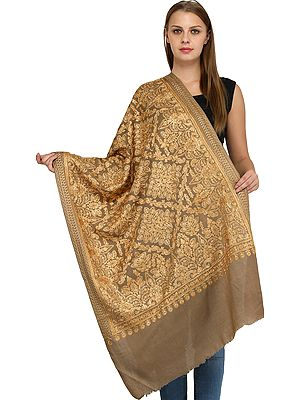 Wood-Smoke Shawl from Amritsar with Ari Embroidered Large Bootis
