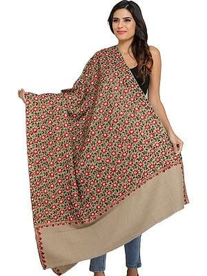 Light-Taupe Pure Wool Shawl from Amritsar with Ari Floral Embroidery All-Over