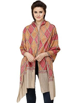 Wood-Ash Kashmiri Tusha Stole with Sozni Embroidered Florals In Geometric Pattern