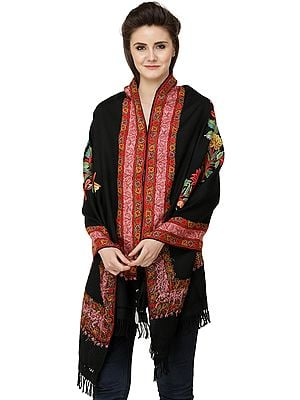 Stole from Kashmir with Ari Hand-Embroidered Flowers and Border
