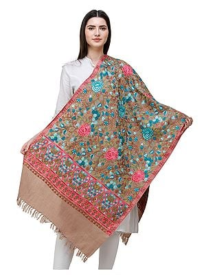 Stucco Woolen Stole from Kashmir with Multi-Color Aari-Embroidery