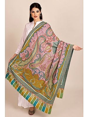 Multi-coloured Pure Pashmina Shawl from Kashmir with Sozni-Embroidery by Hand