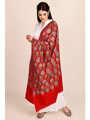 Superfine True-Red Pure Pashmina Shawl from Kashmir with Sozni-Embroidery by Hand