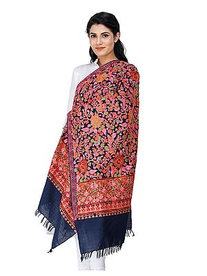 Navy-Blue Woolen Stole from Kashmir with Multi-Color Aari-Embroidery