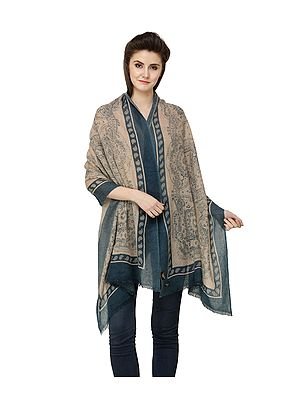 Tan Pure Wool Digital Printed Stole from Nepal