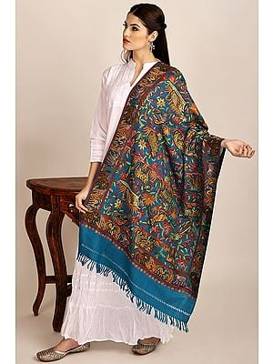 Layons-Blue Woolen Stole from Kashmir with Aari-Embroidered Animals by Hand