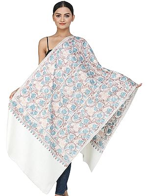 Snow-White Woolen Stole from Kashmir with Aari-Embroidery