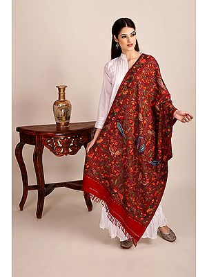 Ribbon-Red Woolen Stole from Kashmir with Aari-Embroideed Birds by Hand